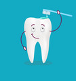 cute happy cartoon tooth with its smiling vector image vector image