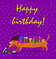 dachshund with gift boxes upon the back watching vector image vector image