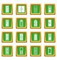 door icons set green vector image vector image