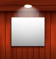 empty frame on wooden wall lamp illuminated vector image vector image