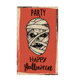 flyer template halloween party evil mummy vector image
