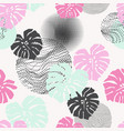hand drawn tropical leaves with optical distorted vector image