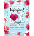 happy valentines day background with love hearts vector image vector image