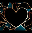 heart frame on golden wire glowing background vector image vector image