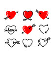 heart with arrow icon red love line sign vector image