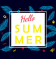 hello summer poster with palm leaves vector image vector image