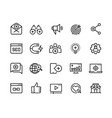 Inbound marketing line icons lead social media