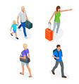 isometric people with travel bag traveling vector image vector image