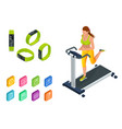 isometric running on a treadmill and fitness vector image