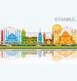 istanbul skyline with color landmarks blue sky vector image vector image