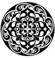 kaleidoscopic floral tatoo mandala in black and vector image vector image