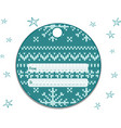 label round with a knitted turquoise-white vector image vector image