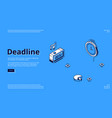 landing page deadline with clock icons vector image