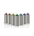 metallic cans of spray paint in various colors vector image vector image