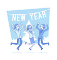 new year office party lineart concept vector image vector image
