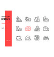 nuts - modern line design style icons set vector image