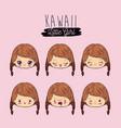 pink background set facial expression kawaii vector image