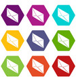 postal letter icons set 9 vector image vector image