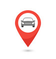 red map pointer with car icon vector image
