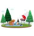 scene with wine and food for picnic in garden vector image vector image
