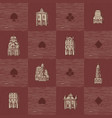 seamless pattern with old hand drawn houses vector image vector image
