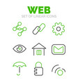 set of universal web icons flat minimal linear vector image