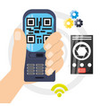 Smartphone connect wifi with gear technology vector image
