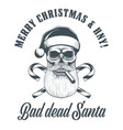 smoking santa claus skull vector image