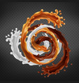 splash caramel chocolate and milk swirl mix vector image vector image