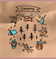 summer camping poster tent campfire pine forest vector image