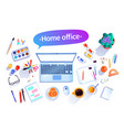 top view artist workplace vector image vector image