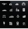 Travel icons white on black screen