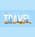 travel to south korea seoul city background with vector image vector image
