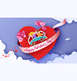 valentines day card with couple take care love vector image vector image
