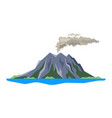 volcano eruption with smoke ashes isolated on vector image