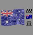 waving australia flag pattern bank building vector image vector image