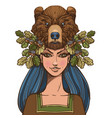 woman with a mask of a bear beautiful girl in a vector image vector image