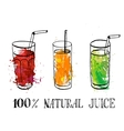 set of glasses with fruit juice vector image