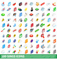 100 sings icons set isometric 3d style vector image vector image