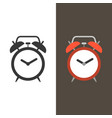 alarm clock flat design and silhouette vector image vector image