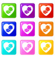 baby icons set 9 color collection vector image vector image