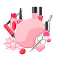 background with manicure tools vector image vector image