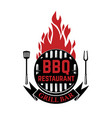 bbq and grill icon design elements for logo label vector image