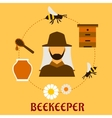 Beekeeping concept with beekeeping and apiculture vector image vector image