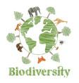 biodiversity concept wild animal tree planet vector image