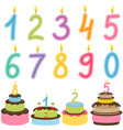 birthday numbers candle with birthday cakes vector image vector image