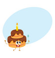 birthday party cake character with smiling human vector image vector image