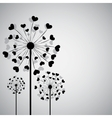 Black dandelion with hearts vector image