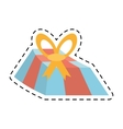 blue gift box yellow bow and red ribbon line vector image vector image