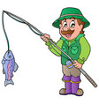 cartoon fisherman with rod and fish vector image